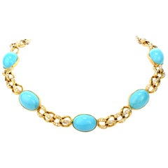1970s GIA Persian Turquoise 18 Karat Gold Diamond Oval Link Necklace