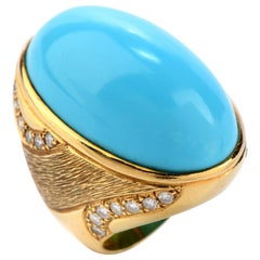 1970s GIA Turquoise and Diamond 18 Karat Gold Oval Cocktail Ring