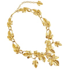 1970s Gilded Leaves Statement Choker Necklace By Kunio Matsumoto For Trifari
