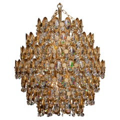 1970's Gilded Spherical Chandelier Filled with Clear Facet Crystals by Palwa