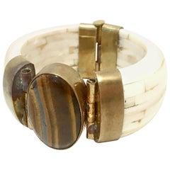 1970'S Gilt Brass Carved Bone & Tigers Eye Hinge Bangle Bracelet