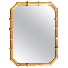 1970s Gilt Faux Bamboo Octagonal Mirror