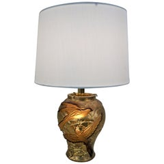 1970s Gilt Glass Lamp with Flying Birds
