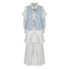 1970s Gina Fratini Blue & White Lace and Cotton Dress