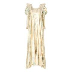 1970s Gina Fratini Romantic Satin Maxi Dress