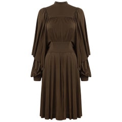 1970s Gina Fratini Chocolate Brown Silk Jersey Dress With Caped Sleeves