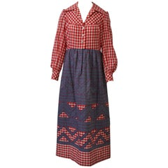 1970s Gingham and Denim Maxi Dress