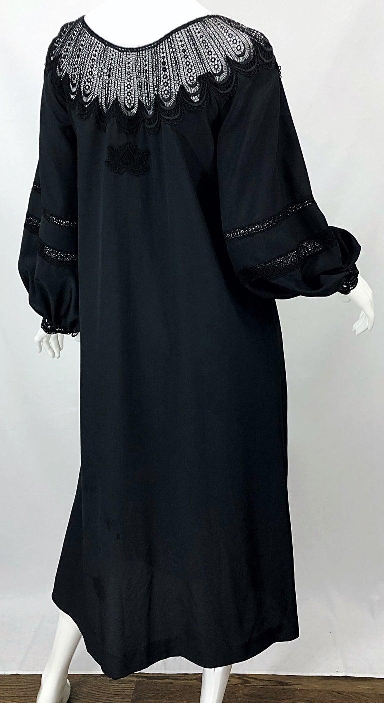 1970s Giorgio di Sant Angelo Black Vintage 70s Crochet Bishop Sleeve Smock Dress For Sale 7