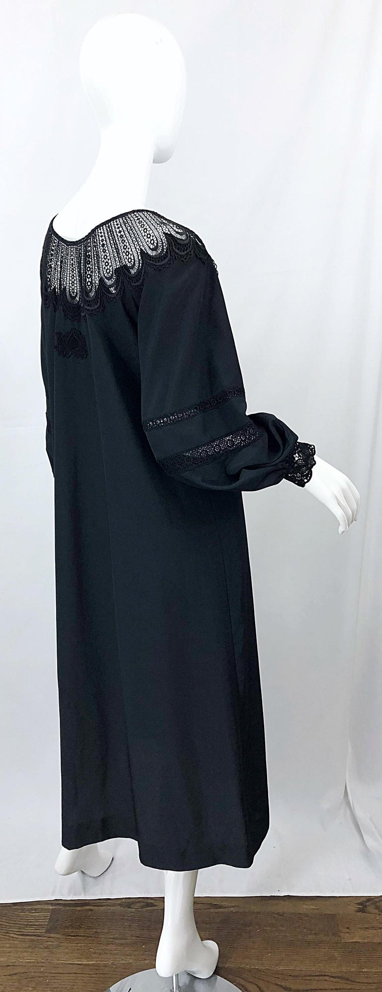 1970s Giorgio di Sant Angelo Black Vintage 70s Crochet Bishop Sleeve Smock Dress For Sale 9