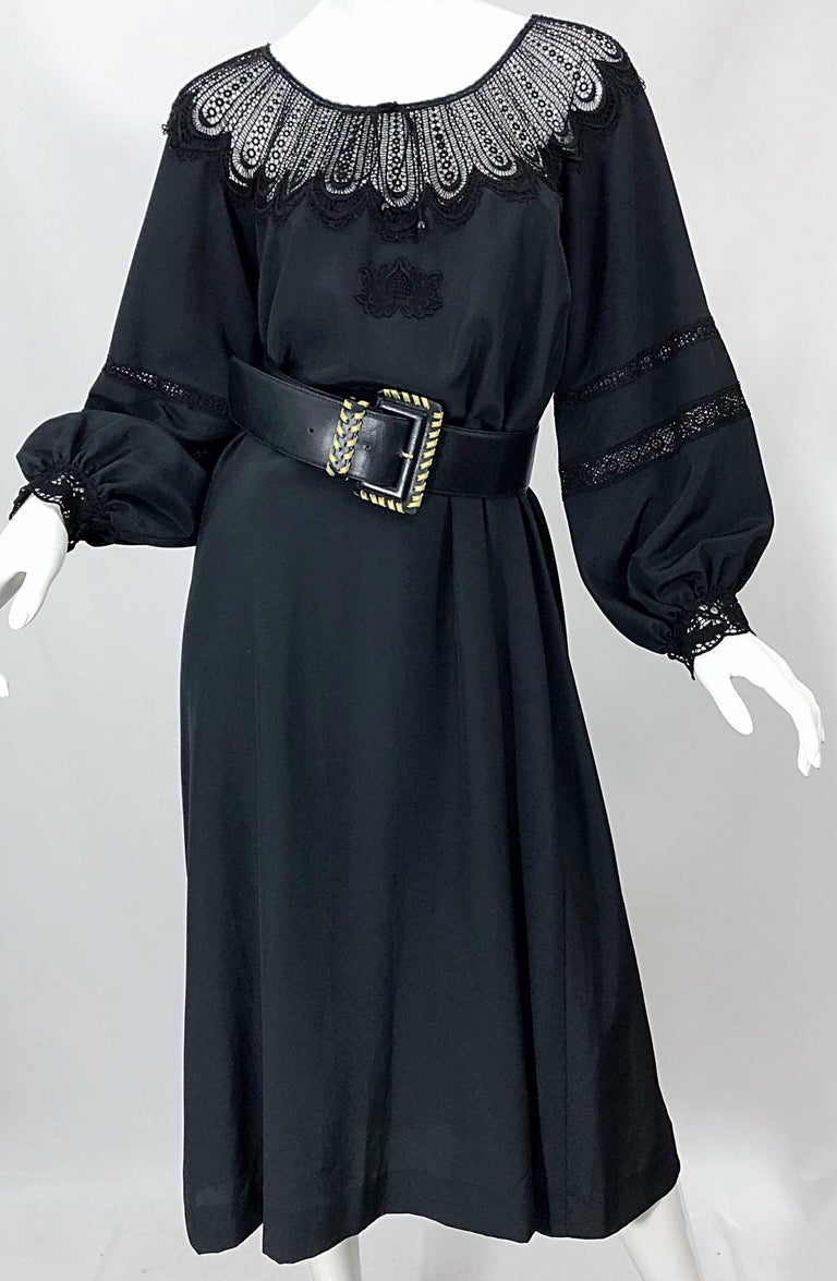 1970s Giorgio di Sant Angelo Black Vintage 70s Crochet Bishop Sleeve Smock Dress For Sale 1