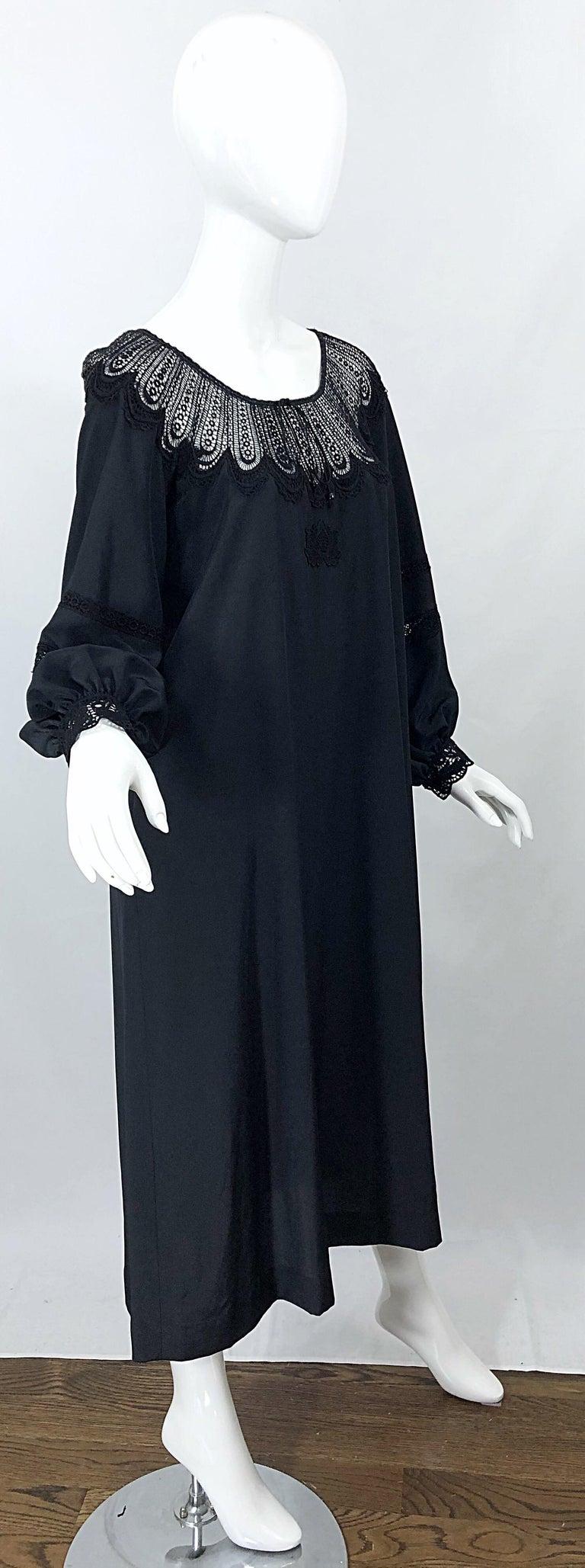 1970s Giorgio di Sant Angelo Black Vintage 70s Crochet Bishop Sleeve Smock Dress For Sale 3