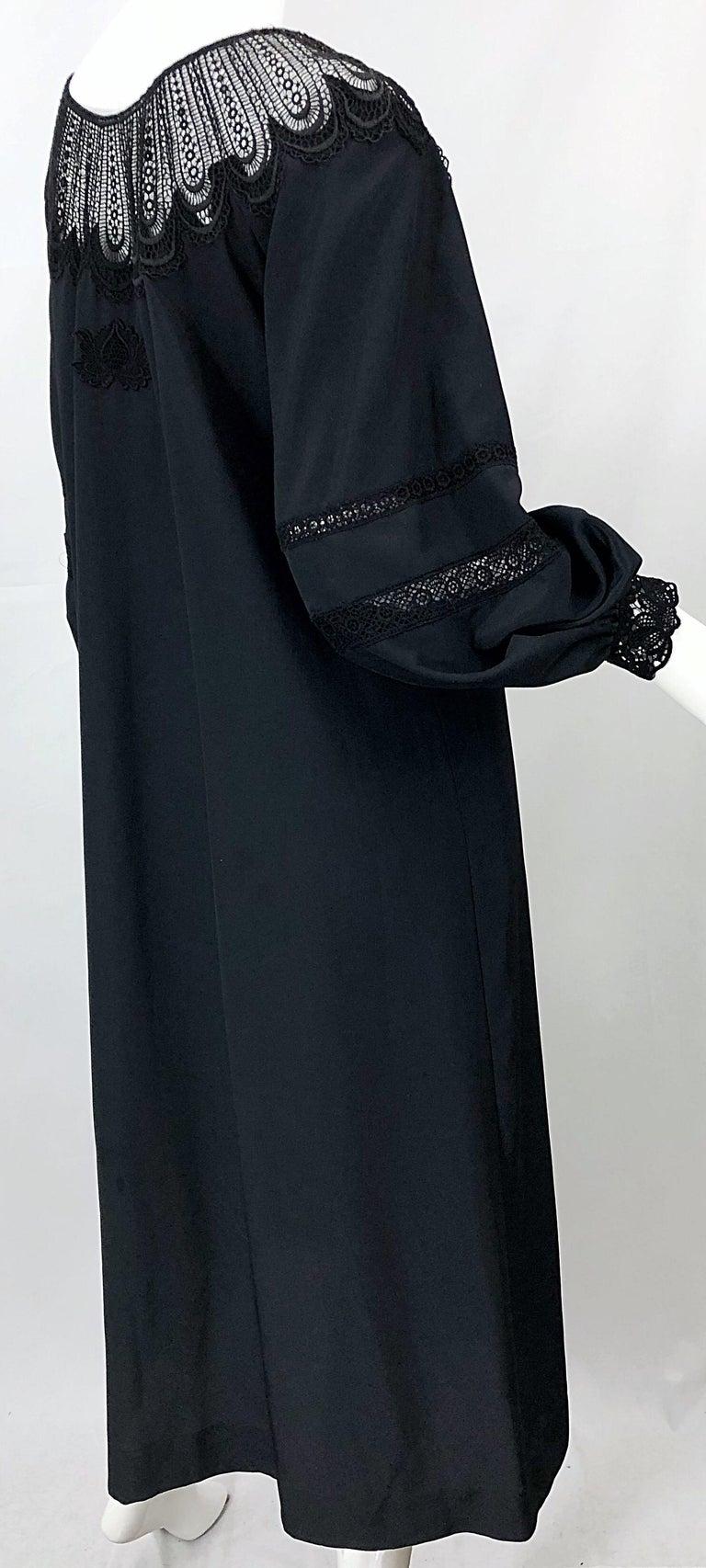 1970s Giorgio di Sant Angelo Black Vintage 70s Crochet Bishop Sleeve Smock Dress For Sale 4
