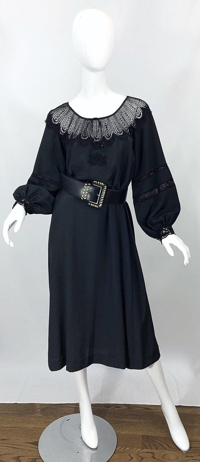 1970s Giorgio di Sant Angelo Black Vintage 70s Crochet Bishop Sleeve Smock Dress For Sale 5