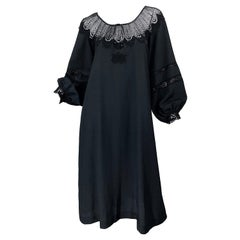 1970s Giorgio di Sant Angelo Black Vintage 70s Crochet Bishop Sleeve Smock Dress