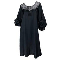 1970s Giorgio di Sant Angelo Black Vintage 70s Crochet Bishop Sleeve Smock Dress