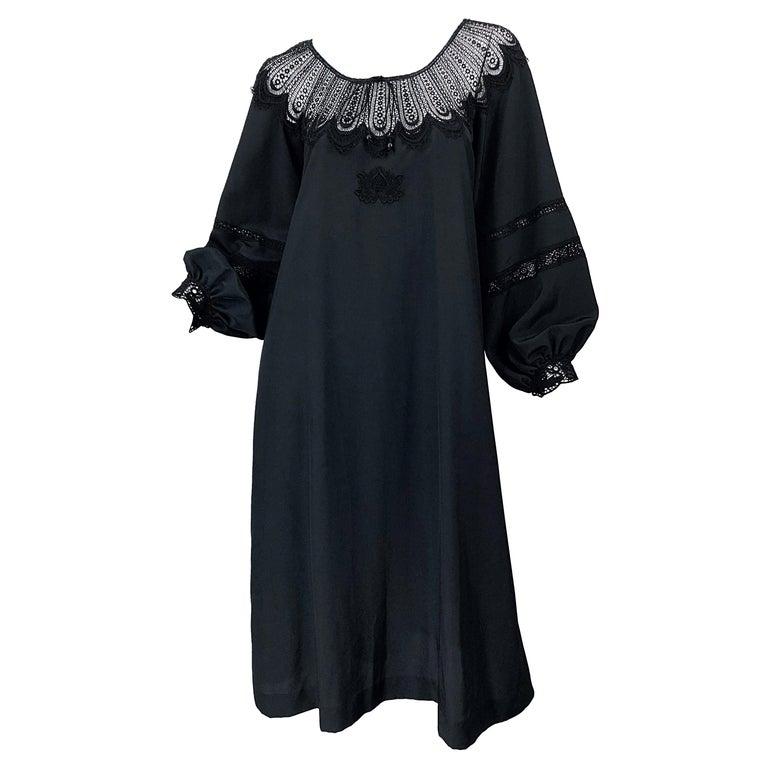 1970s Giorgio di Sant Angelo Black Vintage 70s Crochet Bishop Sleeve Smock Dress For Sale