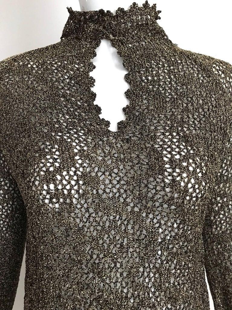 Women's 1970s Giorgio Di Sant Angelo Metallic Gold Knit Sweater top For Sale