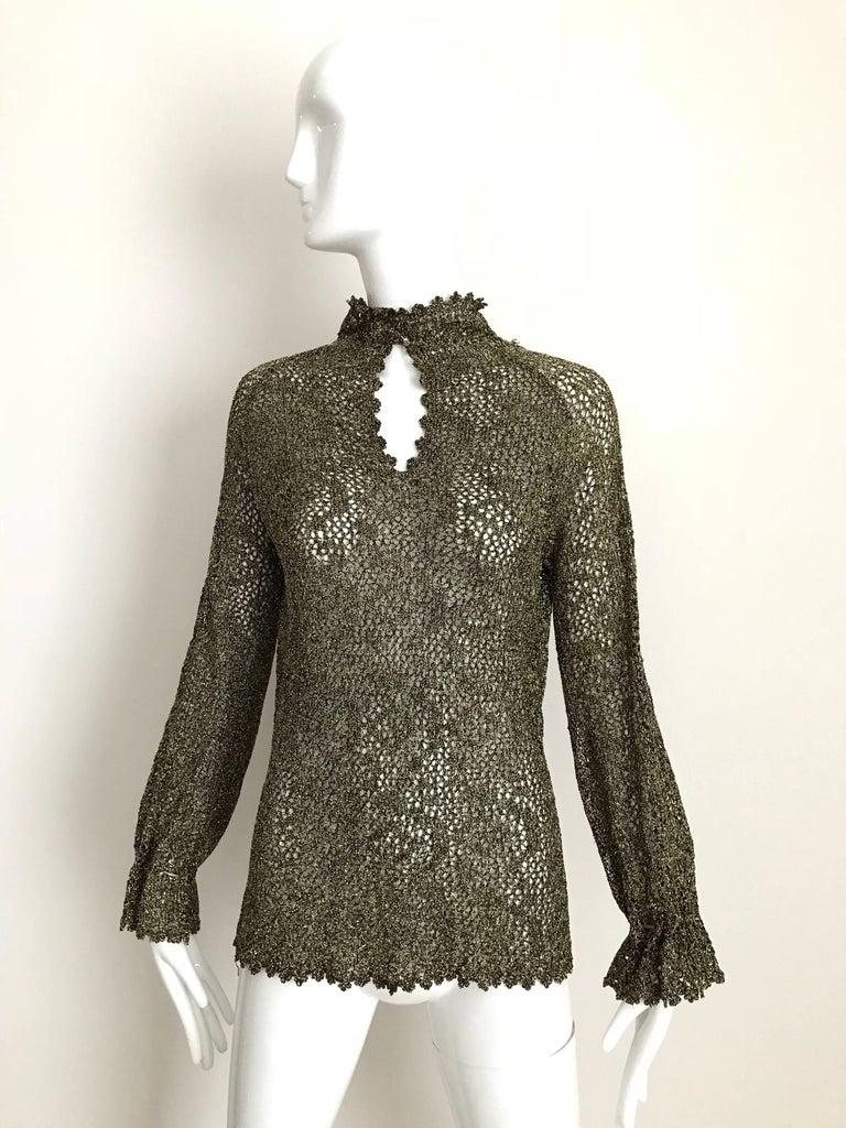 1970s Giorgio Di Sant Angelo Metallic Gold Knit Sweater top For Sale 1