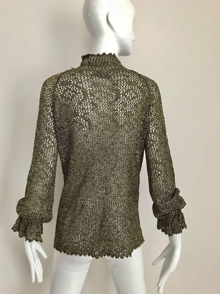 1970s Giorgio Di Sant Angelo Metallic Gold Knit Sweater top For Sale 2