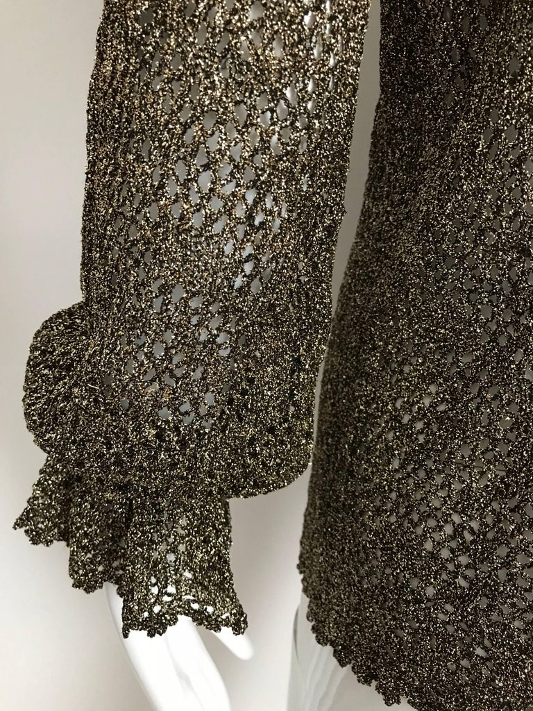 1970s Giorgio Di Sant Angelo Metallic Gold Knit Sweater top For Sale 3
