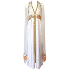 1970s Giorgio Sant' Angelo Beaded Plunge Double Scarf Sleeve Dress