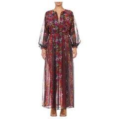 1970S GIORGIO SANT'ANGELO Black Floral Polyester Chiffon Long Sleeve Dress
