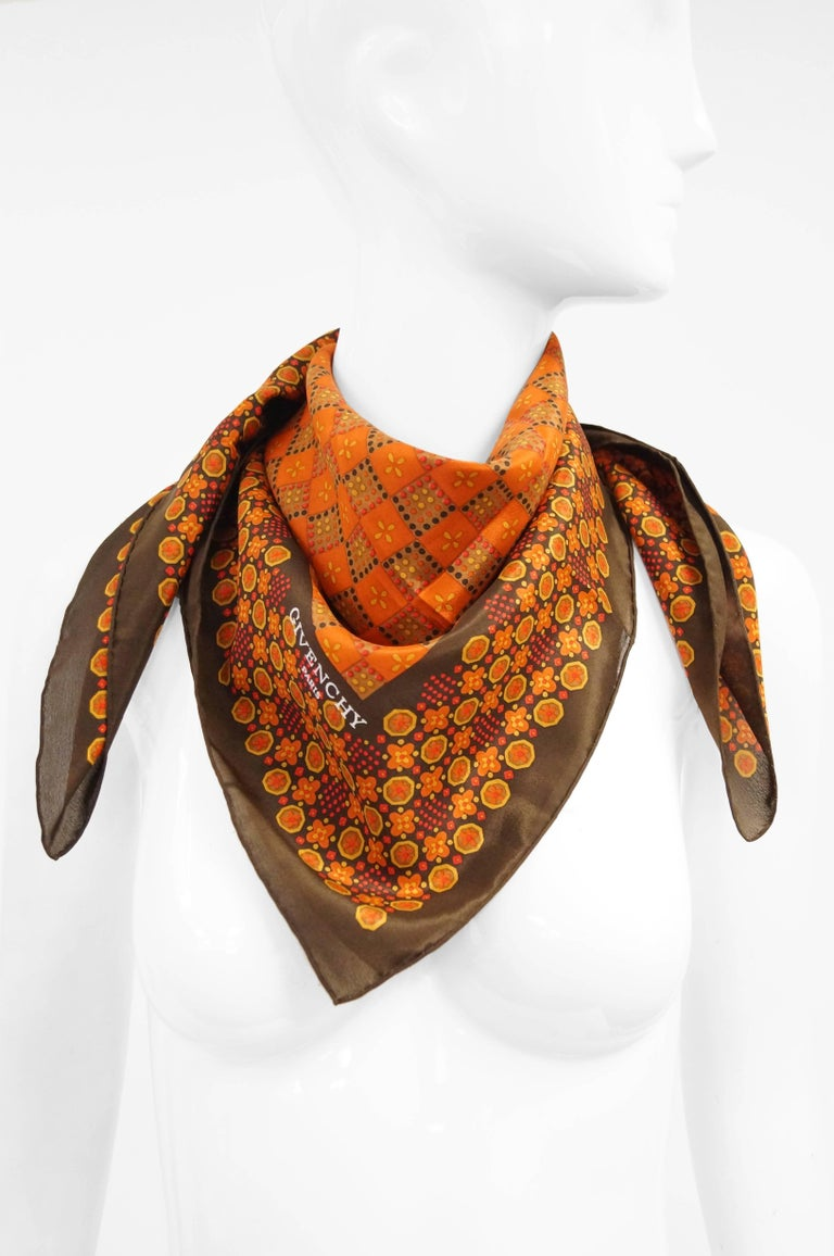 Brown  Givenchy Floral and Geometric Silk Scarf in Amber Tones, 1970s  For Sale