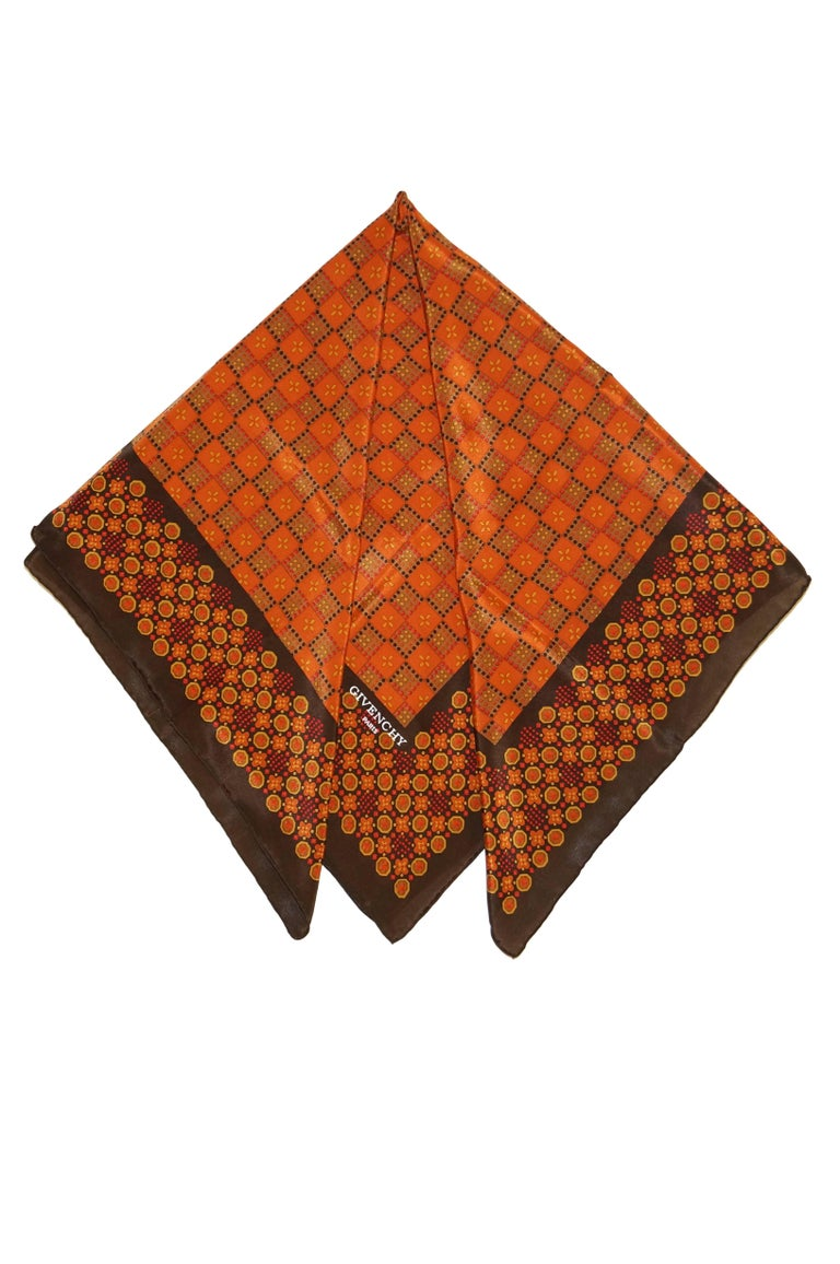 Givenchy Floral and Geometric Silk Scarf in Amber Tones, 1970s  In Excellent Condition For Sale In Houston, TX