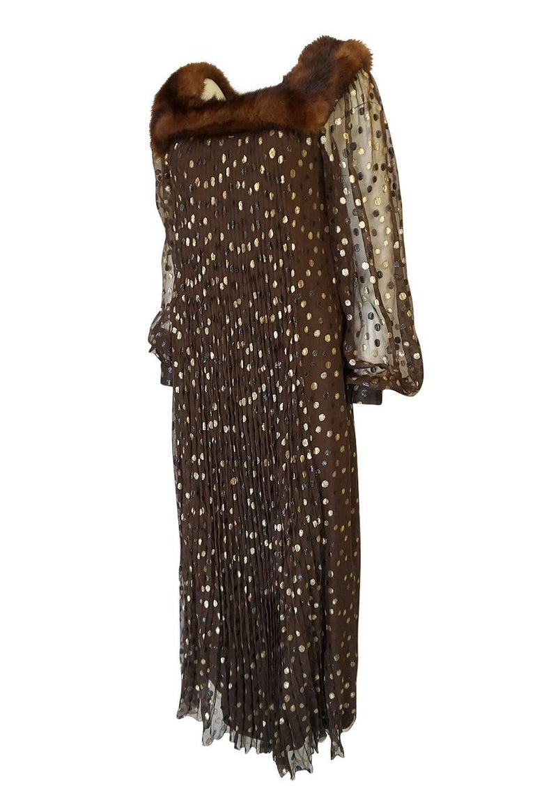 Black 1970s Givenchy Haute Couture Metallic Dot, Silk & Mink Dress For Sale