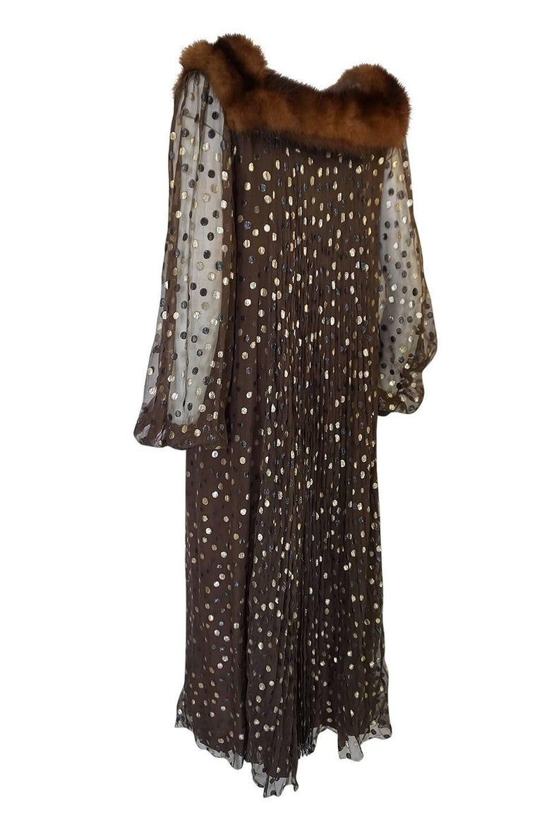 1970s Givenchy Haute Couture Metallic Dot, Silk & Mink Dress In Excellent Condition For Sale In Rockwood, ON