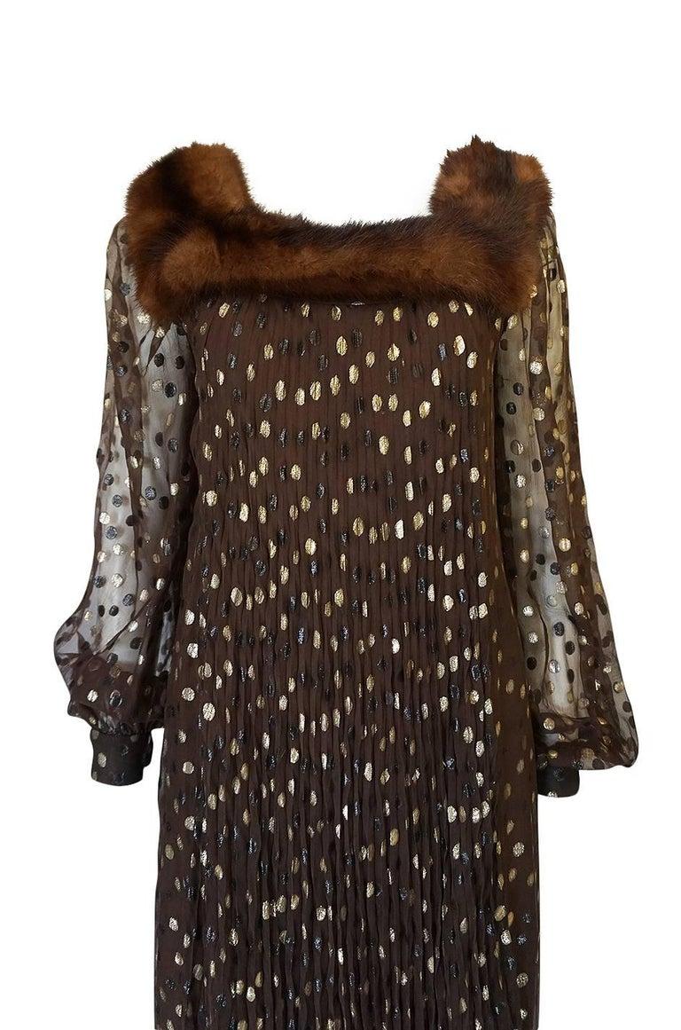 Women's 1970s Givenchy Haute Couture Metallic Dot, Silk & Mink Dress For Sale