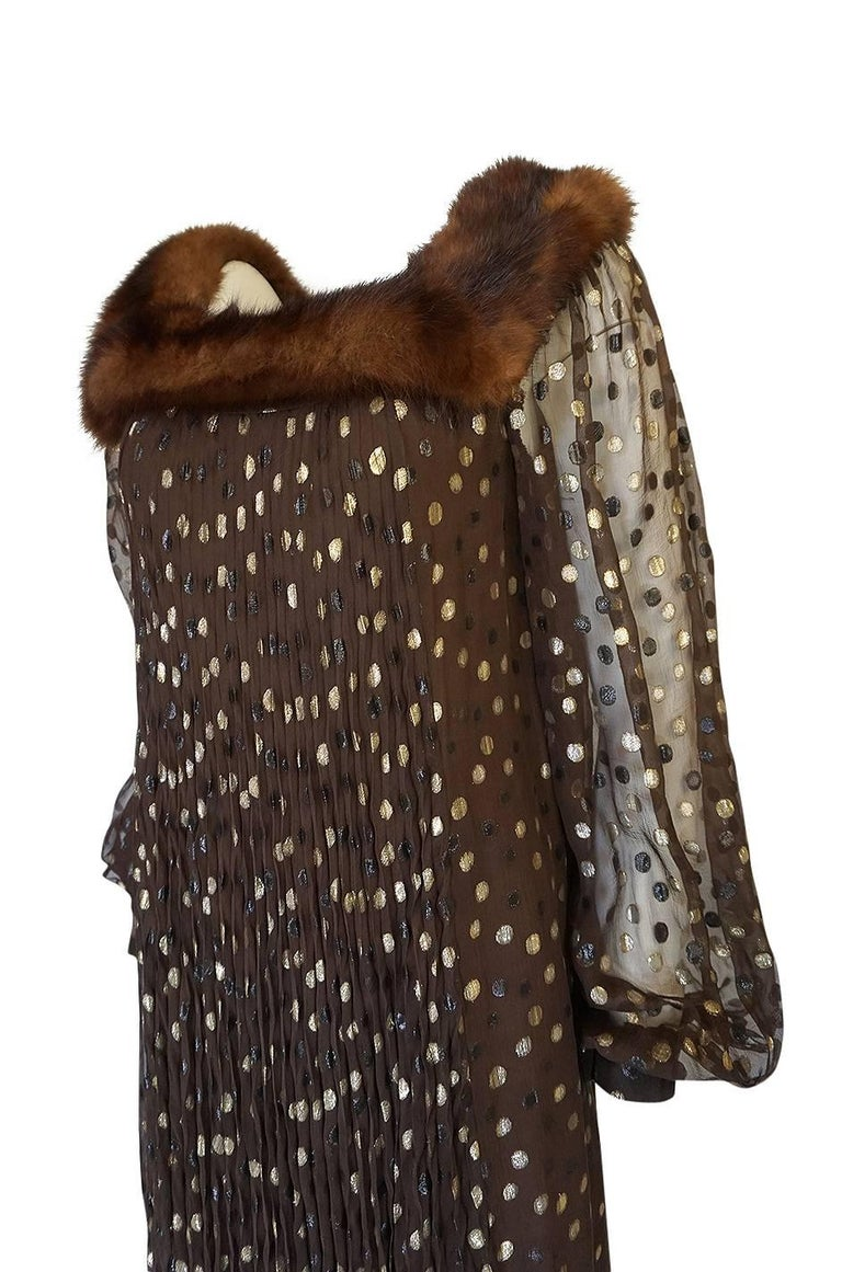 1970s Givenchy Haute Couture Metallic Dot, Silk & Mink Dress For Sale 1