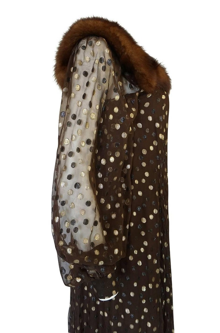 1970s Givenchy Haute Couture Metallic Dot, Silk & Mink Dress For Sale 3