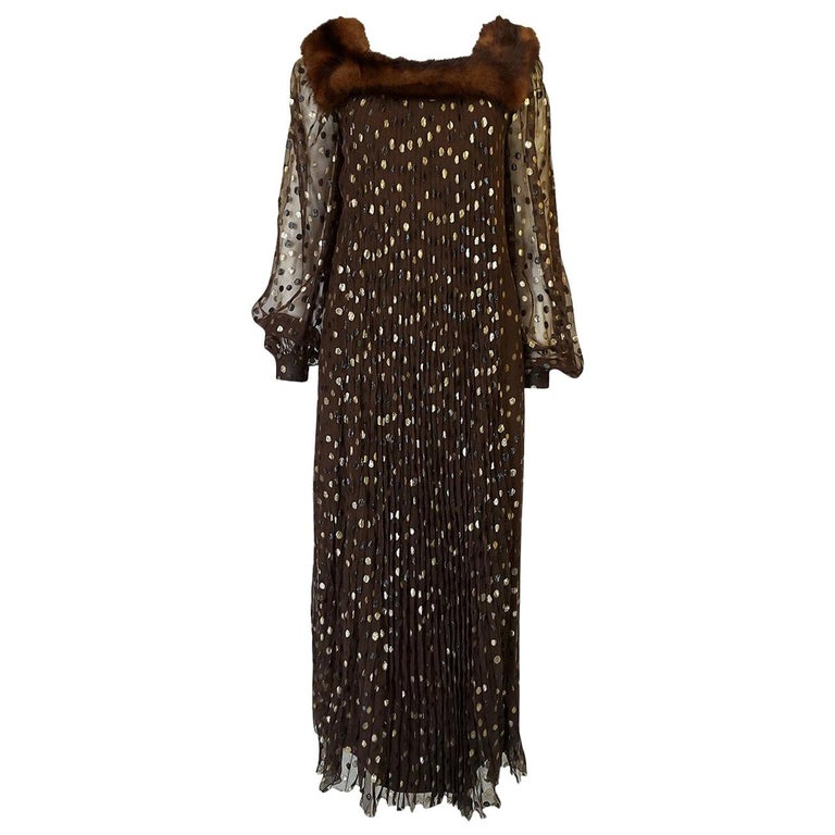 1970s Givenchy Haute Couture Metallic Dot, Silk & Mink Dress For Sale