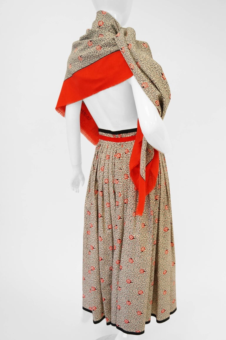 1970s Givenchy Red and Black Floral Midi Skirt and Shawl For Sale 5