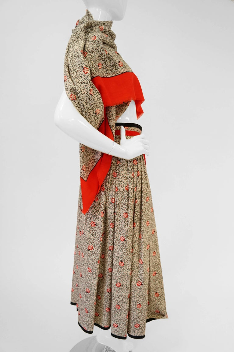 1970s Givenchy Red and Black Floral Midi Skirt and Shawl For Sale 6
