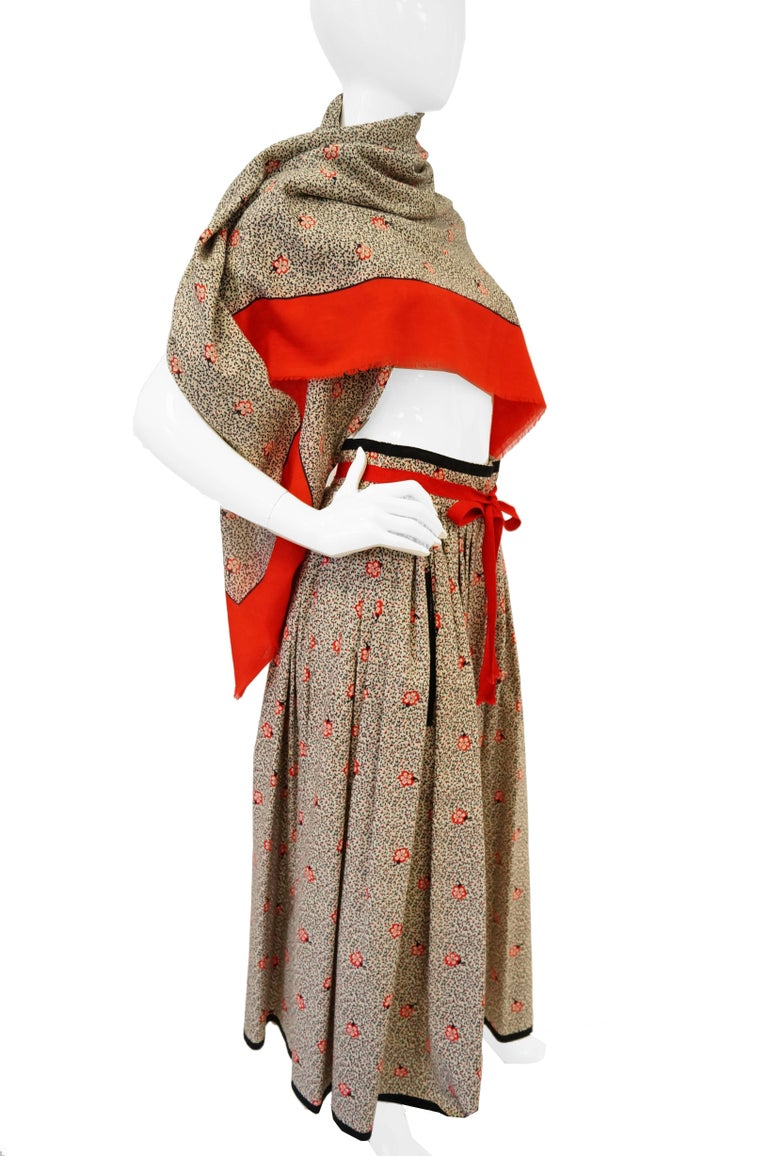 1970s Givenchy Red and Black Floral Midi Skirt and Shawl For Sale 7