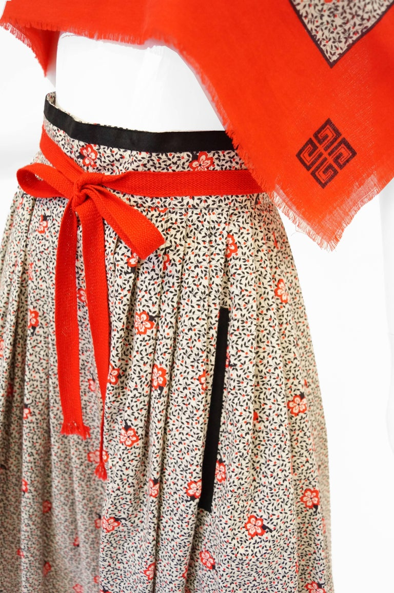 Brown 1970s Givenchy Red and Black Floral Midi Skirt and Shawl For Sale