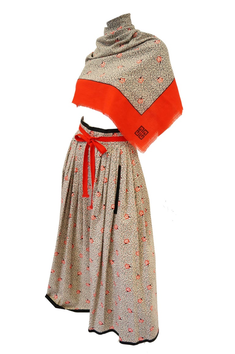 Women's 1970s Givenchy Red and Black Floral Midi Skirt and Shawl For Sale