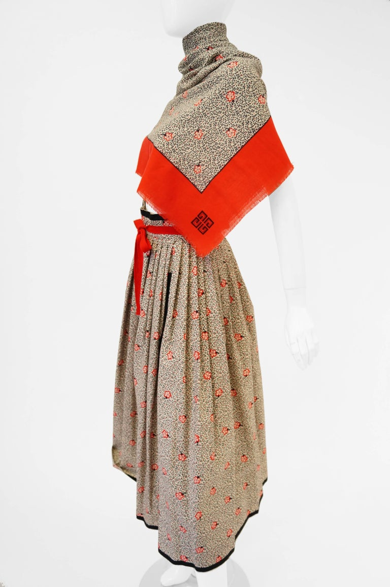 1970s Givenchy Red and Black Floral Midi Skirt and Shawl For Sale 1