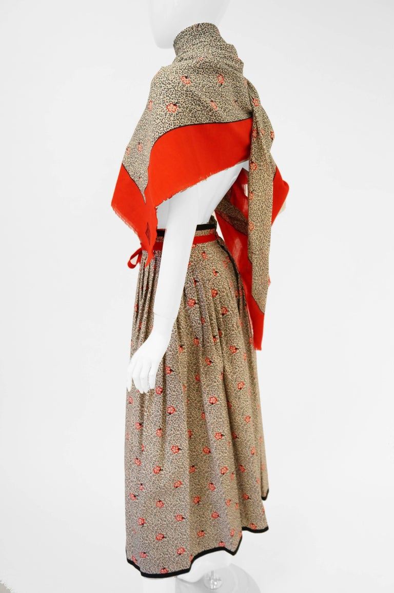 1970s Givenchy Red and Black Floral Midi Skirt and Shawl For Sale 2