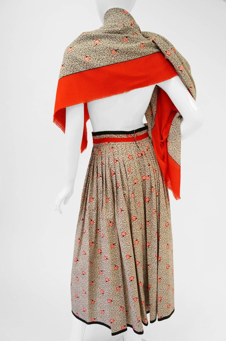 1970s Givenchy Red and Black Floral Midi Skirt and Shawl For Sale 3