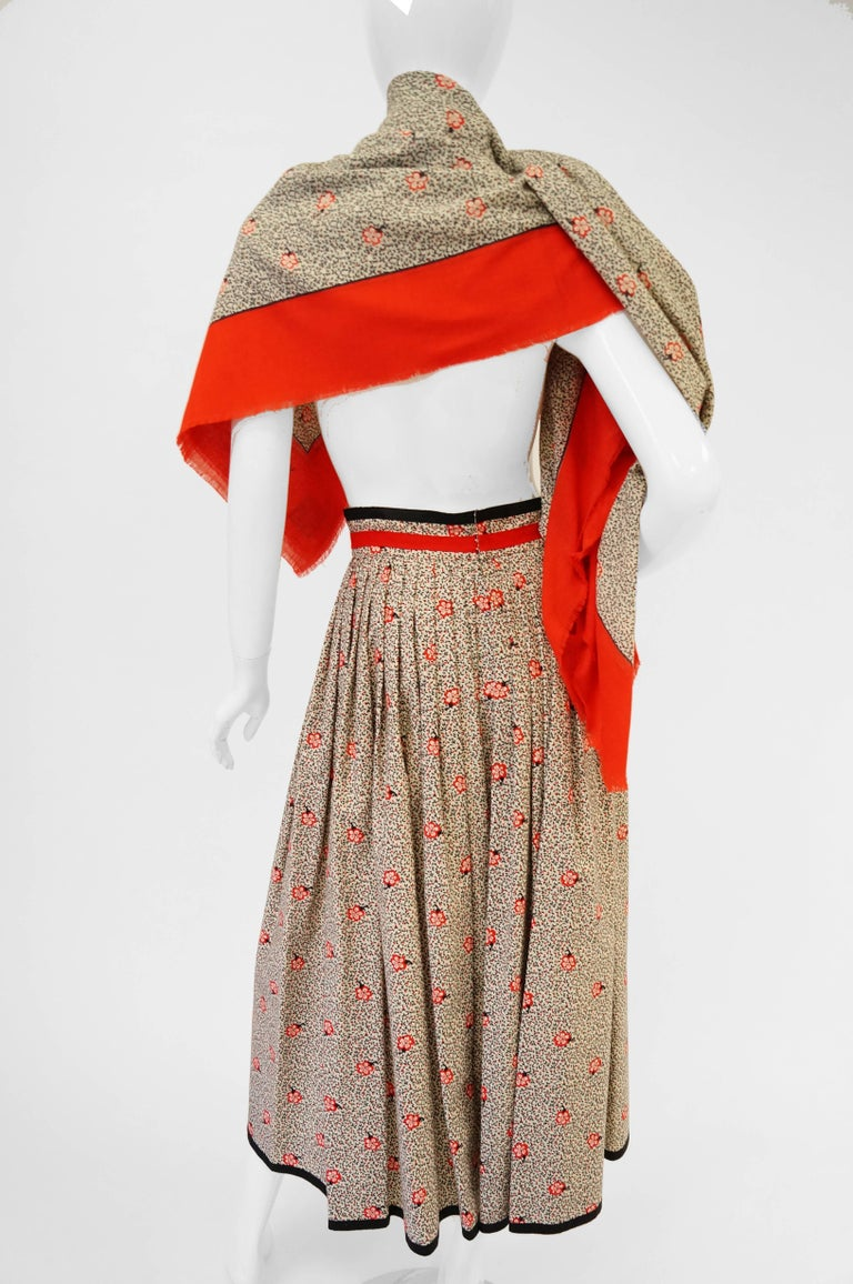 1970s Givenchy Red and Black Floral Midi Skirt and Shawl For Sale 4