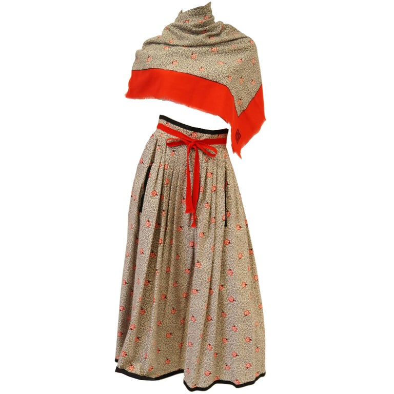1970s Givenchy Red and Black Floral Midi Skirt and Shawl For Sale