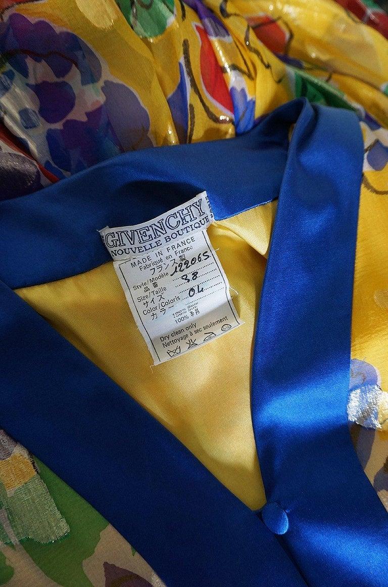 1970s Givenchy Silk Chiffon Floral & Metallic Heart Print Dress For Sale 5