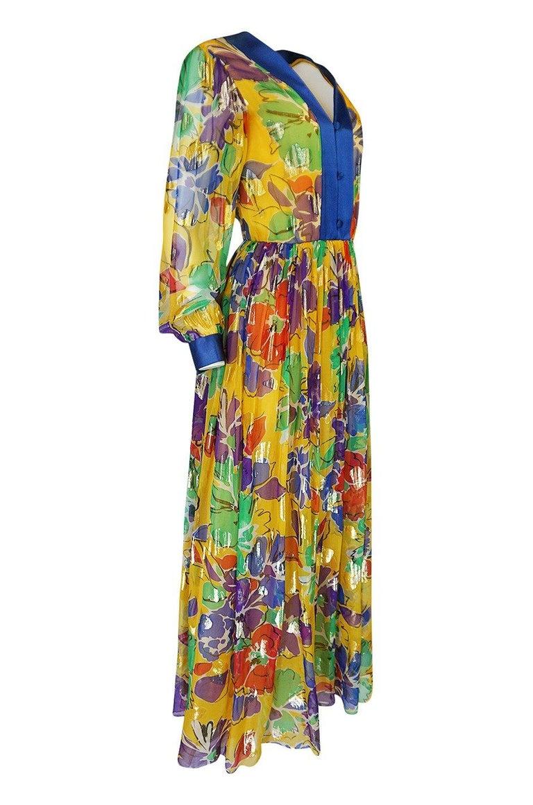 Brown 1970s Givenchy Silk Chiffon Floral & Metallic Heart Print Dress For Sale