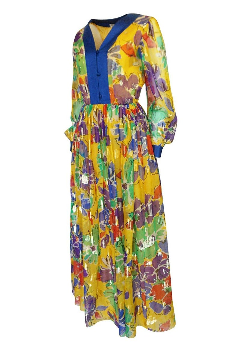 1970s Givenchy Silk Chiffon Floral & Metallic Heart Print Dress In Good Condition For Sale In Rockwood, ON