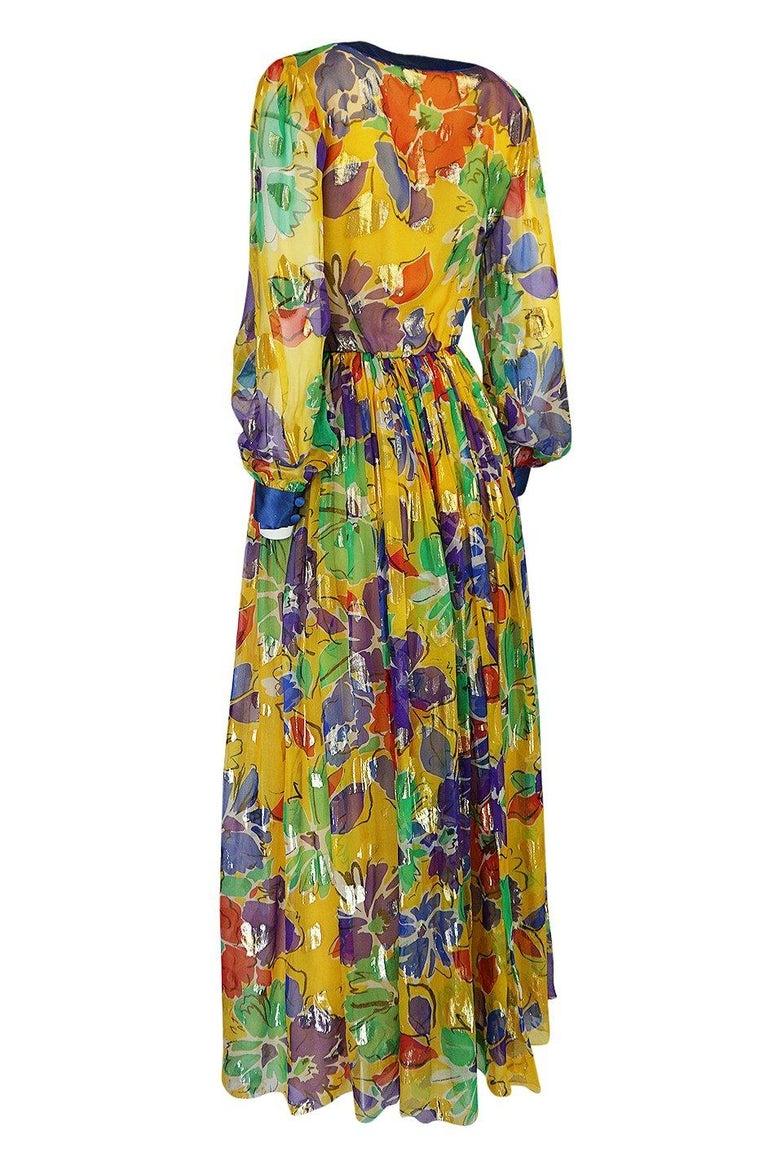 Women's 1970s Givenchy Silk Chiffon Floral & Metallic Heart Print Dress For Sale