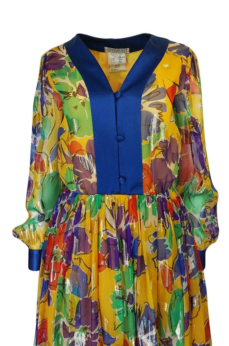 1970s Givenchy Silk Chiffon Floral & Metallic Heart Print Dress For Sale 1