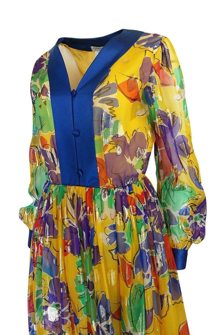 1970s Givenchy Silk Chiffon Floral & Metallic Heart Print Dress For Sale 2